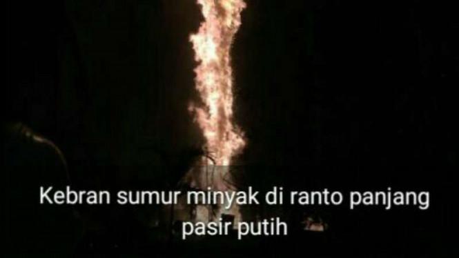 Semburan Api Sumur Minyak di Aceh Mencapai 100 Meter Keatas