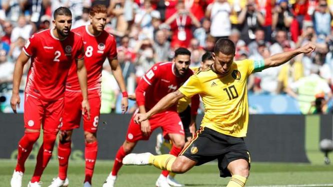 Eden Hazard Jadi Bintang Lapangan Saat Belgia Gulung Tunisia