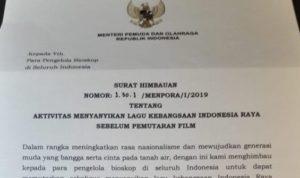Menpora Cabut Surat Imbauan Nyayikan Lagu Indonesia Raya Di Bioskop